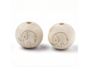 Dřevěné korálky slon kontura 20mm (2ks)