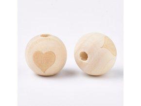 Dřevěné korálky srdce 20mm (2ks)
