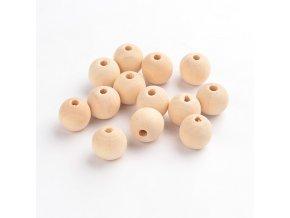Korálky dřevěné, pr.14mm (10ks) - přírodní
