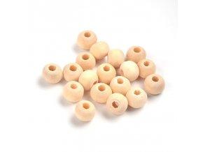 Korálky dřevěné, pr.6mm (100ks) - přírodní