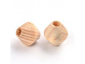 Dřevěné korálky bicone přírodní 16x15mm (10ks)