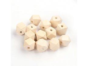 Dřevěné korálky hexa 10mm (10ks)