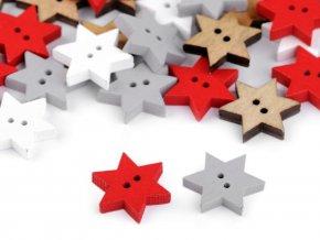 Dřevěný dekorační knoflík hvězda (10ks)