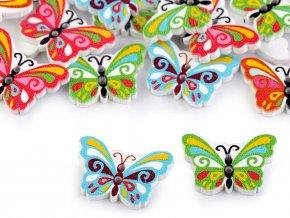 Dřevěný dekorační knoflík motýl (10ks)