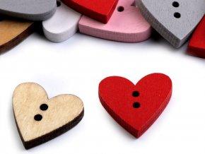 Dřevěný dekorační knoflík srdce 18x19mm (10ks)