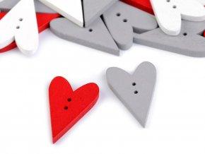 Dřevěný dekorační knoflík srdce 21x33mm (10ks)