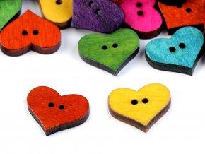 Dřevěný dekorační knoflík srdce 16x19mm (20ks)