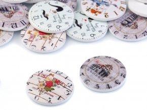 Dřevěný dekorační knoflík hodiny (10ks)