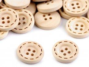 Dřevěný knoflík vyřezávaný okraj pr. 18mm (10ks)