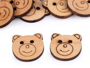 Dřevěný knoflík medvěd (10ks)