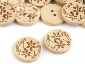 Dřevěný knoflík květy (10ks)