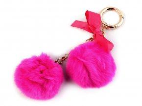 Kožešinový přívěsek na kabelku / klíče - růžová