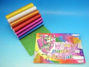 Blok barevných papírů BROKÁT A5 (8 listů)