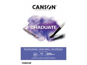 Graduate Mix-Med skicák - lepený A5, A4, A3 (200 g/m2, 20 archů) White