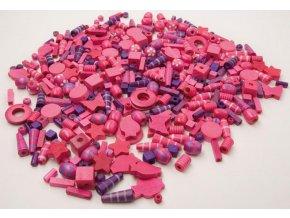 Korálky dřevěné big - růžovofialové (1000ks)