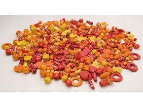 Korálky dřevěné big - žlutooranžové (1000ks)