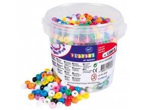 Korálky plastové v kbelíčku - mix barev (1200ks)
