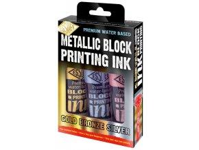Metalické barvy na linoryt (3x100ml)