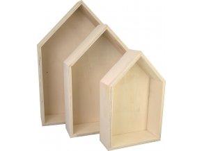 Dřevěná krabice Domek KREUL (sada 3 velikostí)