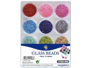 Skleněné korálky rokajl 12 barev (180g)