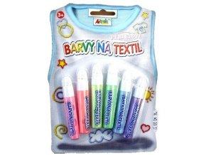 Barvy na textil - perleťové, konturovací (6x7ml)