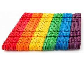 Barevná dřívka s výřezy - mix barev (100ks)