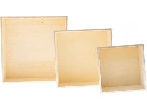 Dřevěné krabice - čtverec (3ks)