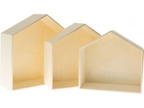 Dřevěné krabice - domek (3ks)