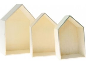 Dřevěné krabice - domeček (3ks)
