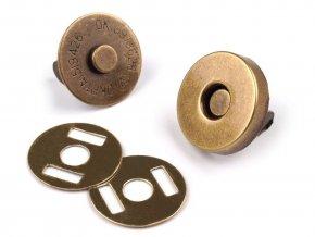 Zapínání magnet pr. 14 mm - staromosaz - (5 sad)