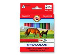 Pastelky trojhranné krátké KOH-I-NOOR - koně (12ks)