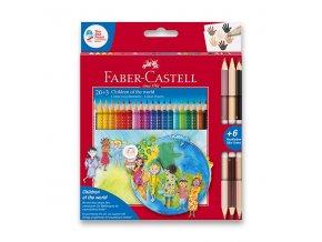 Pastelky Faber-Castell Grip CHILDREN OF THE WORLD 20ks + 6 barev