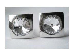 Manžetové knoflíky s lůžkem pr.12mm (2ks) -stříbro -prodáváme BEZ KAMENE