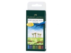 Popisovač Pitt Artist Pen Brush - přírodní odstíny, 6 ks