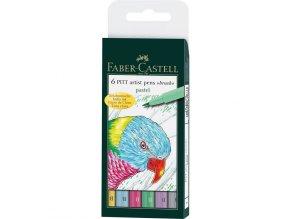 Popisovač PITT artist pen brush - pastelové barvy, 6 ks