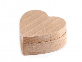 Dřevěná krabička srdce k dozdobení - 5,5x5,5cm