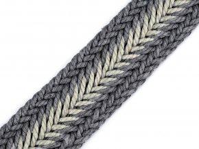Splétaný popruh šíře 35mm (1m) - šedá