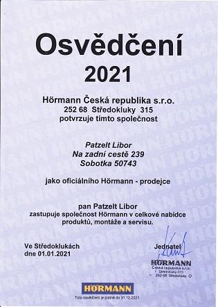 osvědčení Hormann