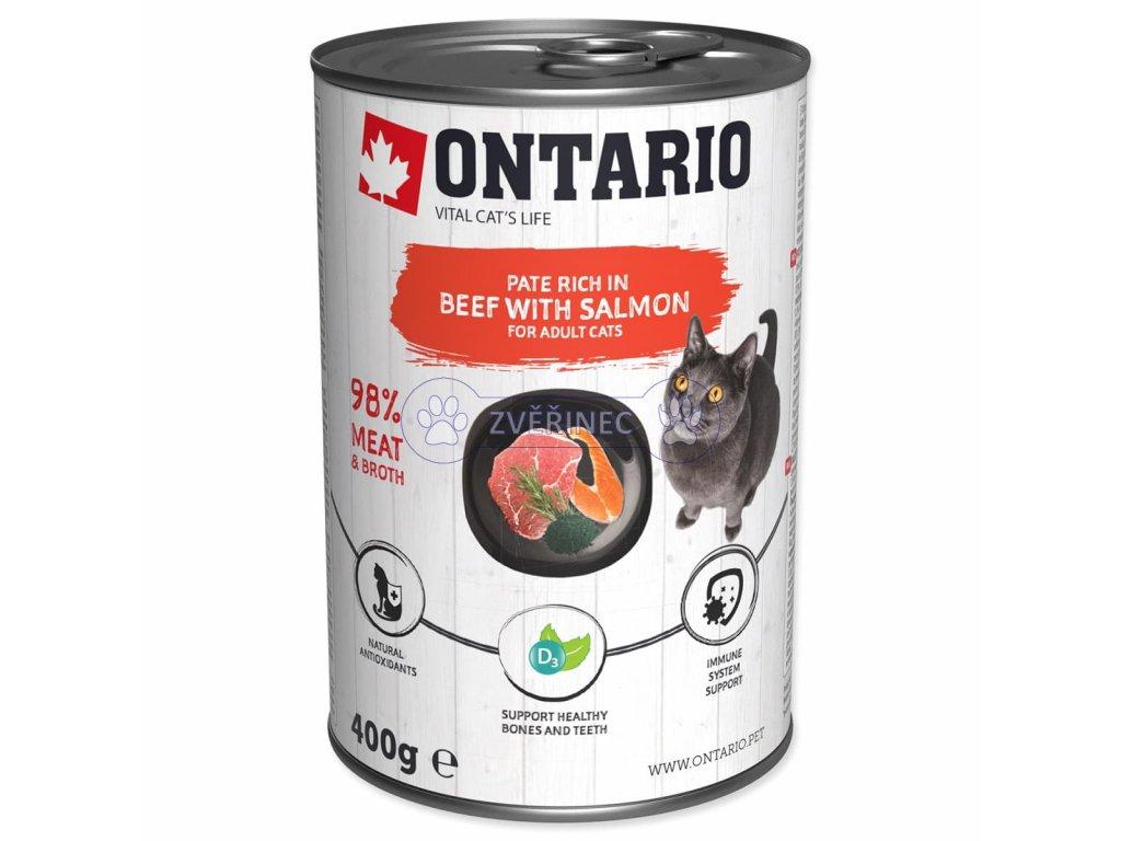 Konzerva ONTARIO Cat Beef, Salmon, Sunflower Oil 400 g