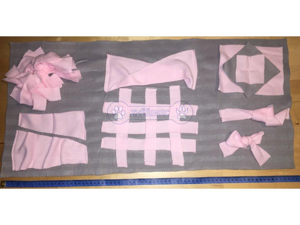 Čmuchací dečka různé prvky růžovo-šedá