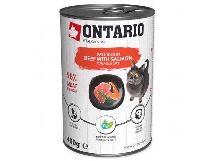 Konzerva ONTARIO Cat Beef, Salmon, Sunflower Oil (400g)