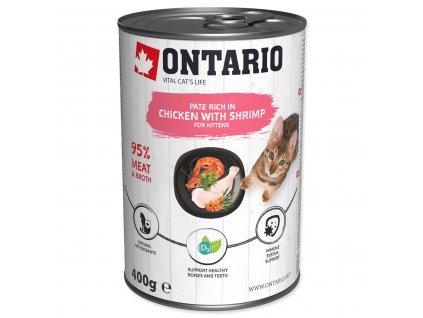 Konzerva ONTARIO Kitten Chicken, Shrimp, Rice and Salmon Oil (400g)