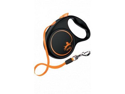 Flexi Neon M páskové vodítko 5m/25kg oranžové