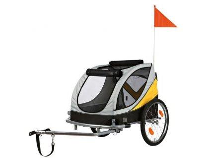 voziky pro psa vozik za kolo m 45x48x74cm do 30 kg sedo zluto cerny
