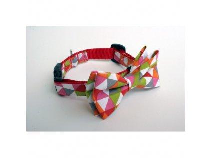Obojek barevné trojuhelníky pro pejska + motýlek