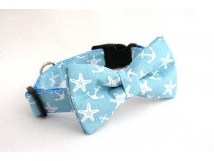 Obojek s motýlkem vzor hvězdice a kotvičky světle modrá