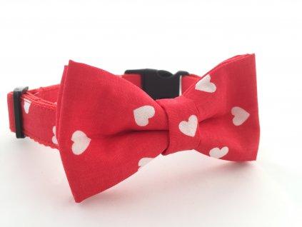 Obojek červený se srdíčky pro pejska + motýlek (Přezka PLASTOVÁ přezka, Velikost XS 18-25 cm šířka popruhu 16mm)