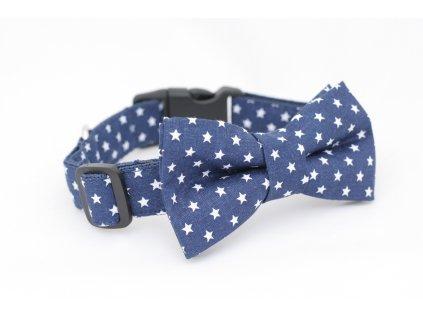 Obojek tmavě modré hvězdičky pro pejska + motýlek (Přezka PLASTOVÁ přezka, Velikost XS 18-25 cm šířka popruhu 16mm)