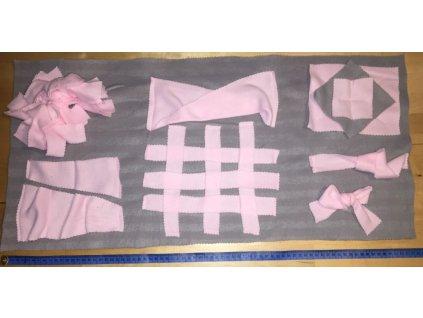 Čmuchací dečka různé prvky růžovo-šedá (Typ. 6)