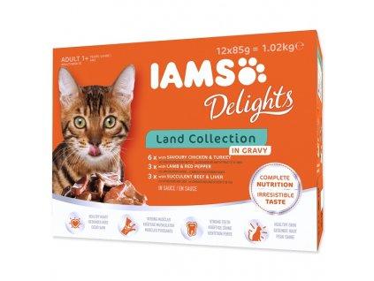 Kapsičky IAMS Cat výběr ze suchozemských mas v omáčce 12x85 g